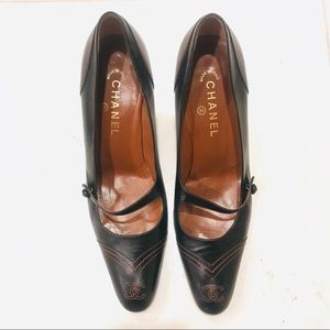 CHANEL leather Mary Jane heels shoes 41